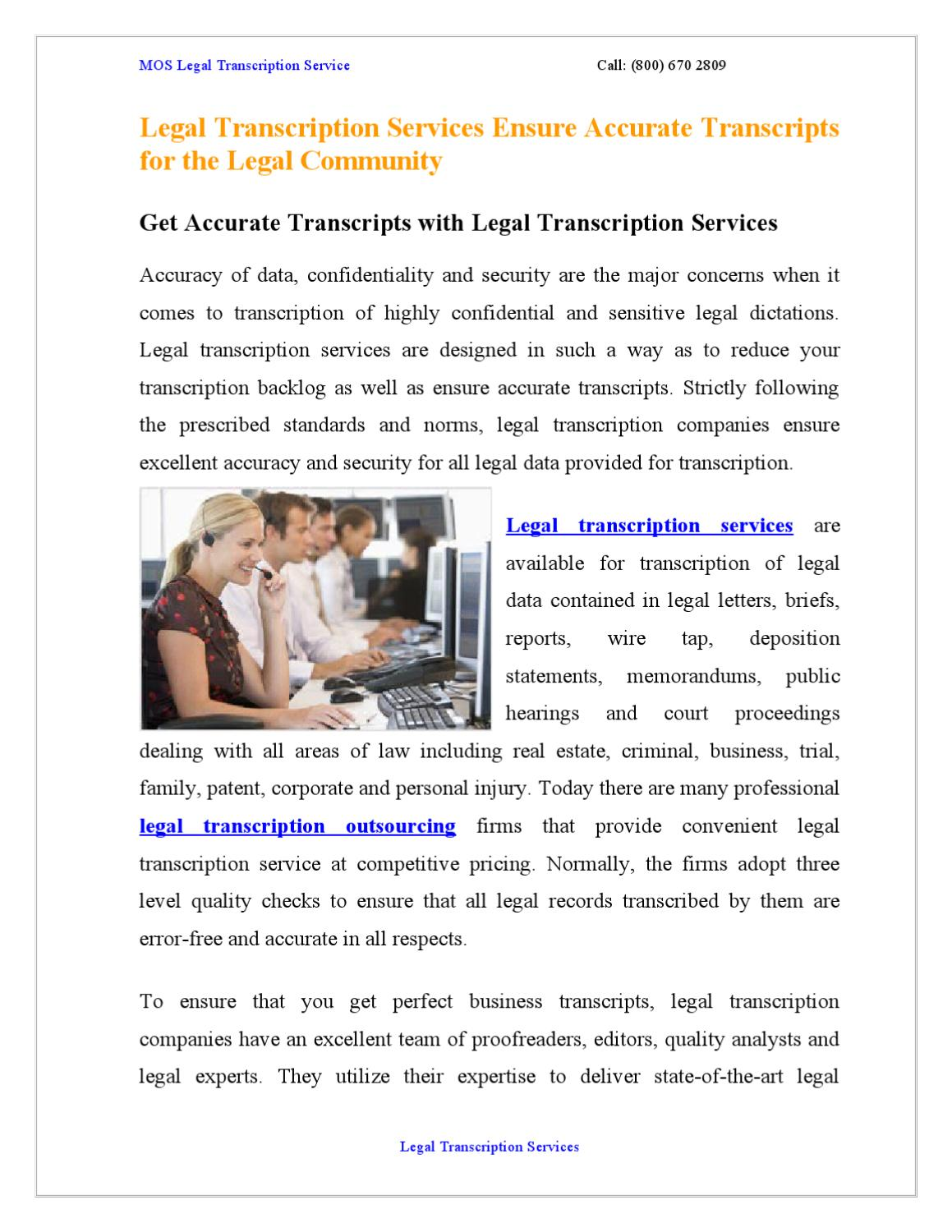 Legal Transcription Services Ensure Accurate Transcripts for