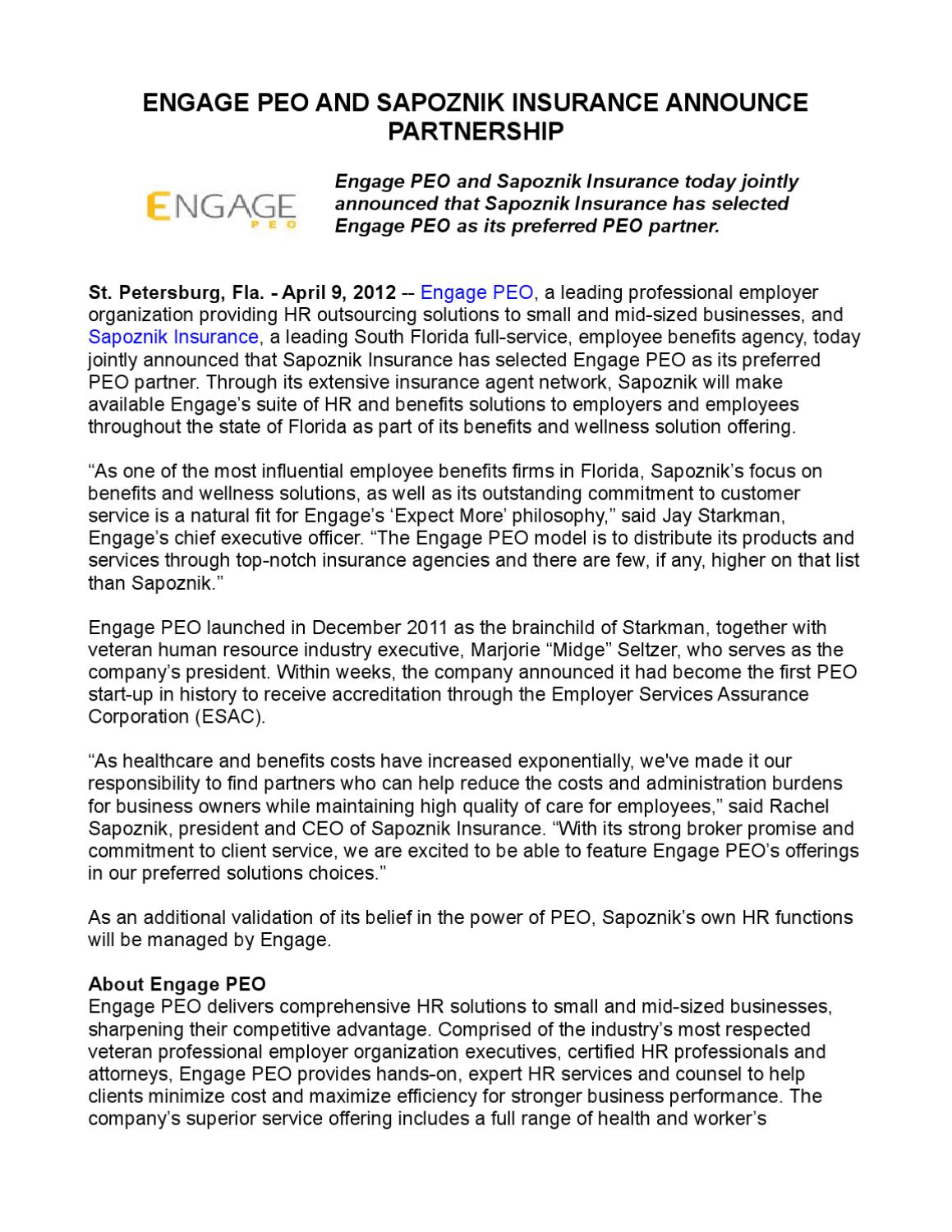 Engage PEO and Sapoznik Insurance Announce Partnership by ...