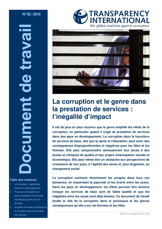 DocuHommes t travail: de travail: t La corruption et le genre dans la prestation de 52f7e8