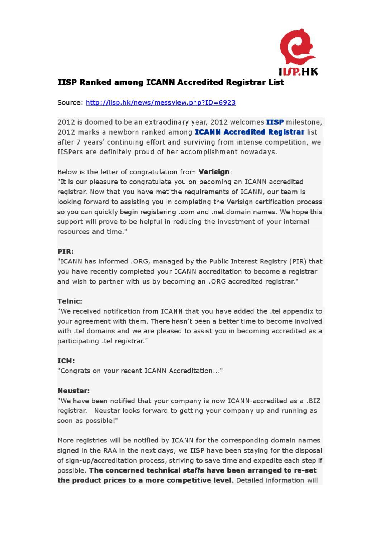 Iisp Ranked Among Icann Accredited Registrar List By Iisp Hk Issuu