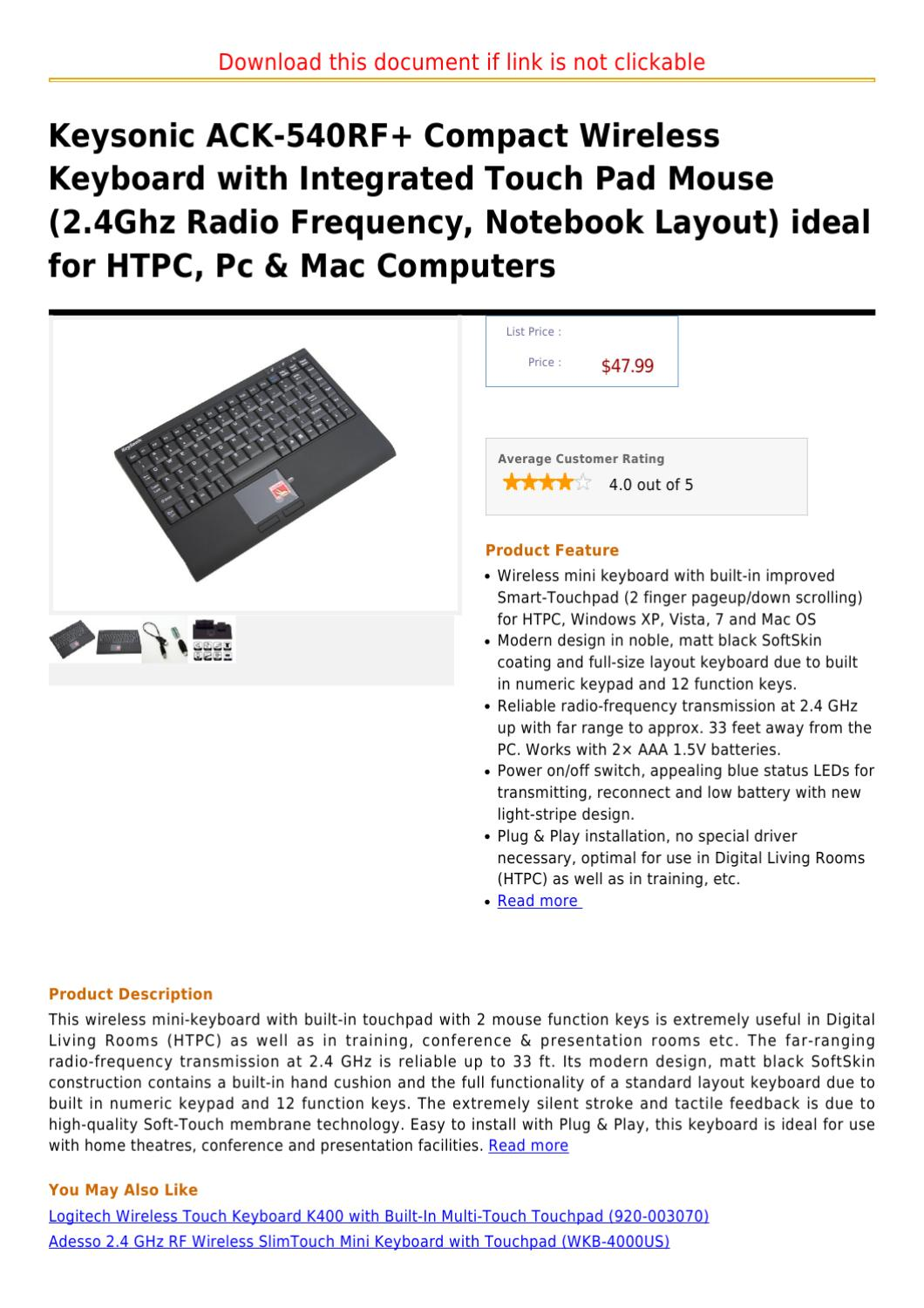 keysonic ack 540rf compact wireless keyboard with integrated touch pad mouse 2 4ghz radio. Black Bedroom Furniture Sets. Home Design Ideas