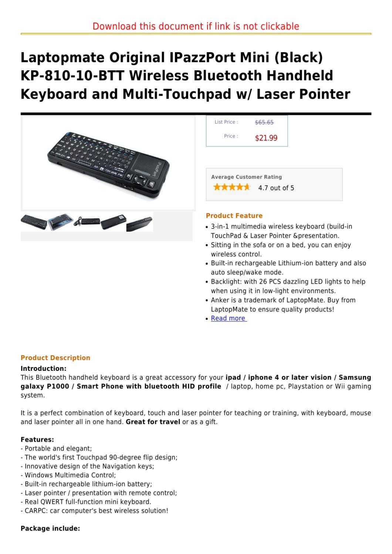Laptopmate Original IPazzPort Mini (Black) KP-810-10-BTT Wireless Bluetooth Handheld Keyboard and Mu by matias swacesnager - issuu