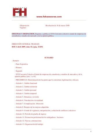 Convenio colectivo de consultorias tecnicas by franco e for Convenio oficinas y despachos estatal