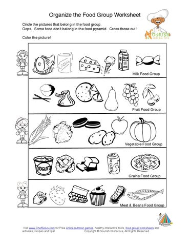 Organize The Food Group Worksheet Circle The Pictures That Belong In The Food  Group. Oops. Some Food Don始t Belong In The Food Pyramid. Cross Those Out!