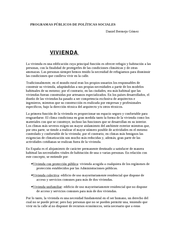 trabajo de vivienda by PROGRAMAS PÚBLICOS POLÍTICAS - issuu