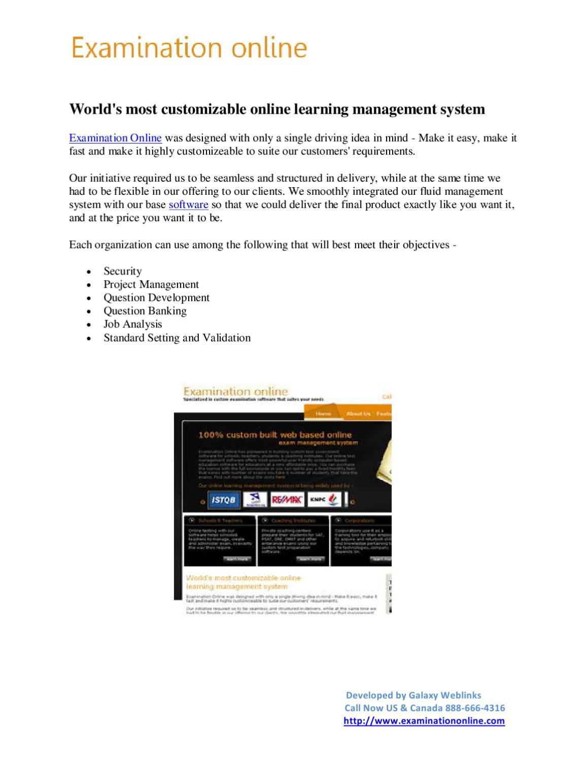 Web Based Learning Management System, Online Test Software by