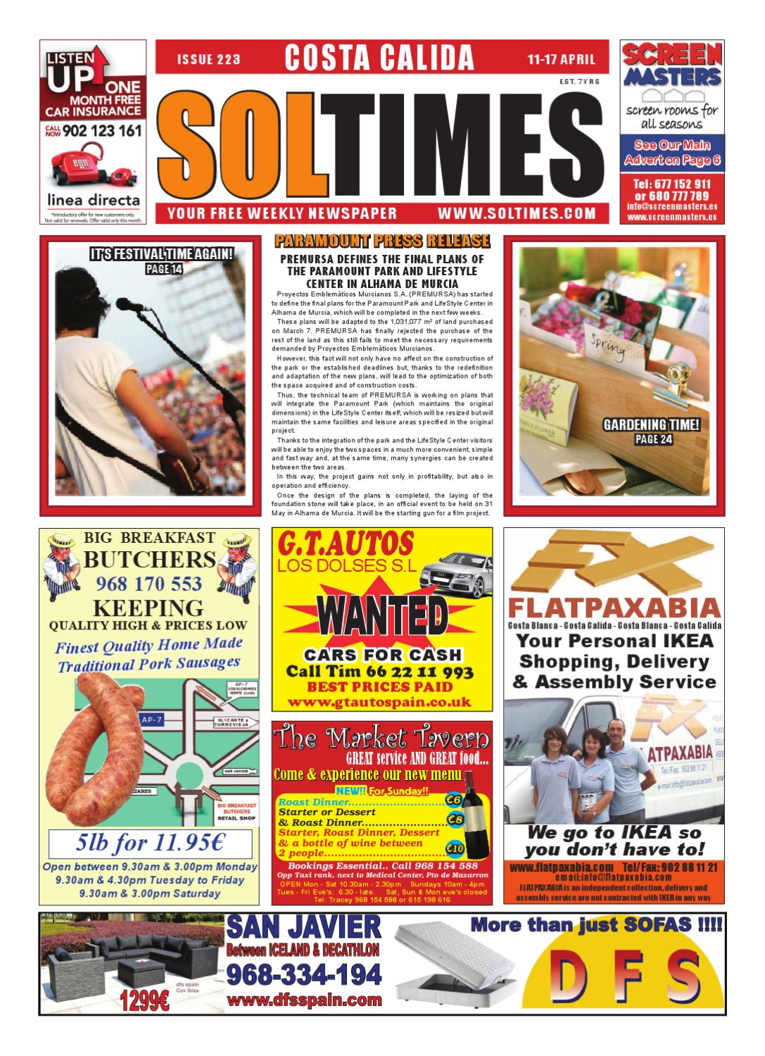 Sol Times Newspaper Issue 223 Costa Calida Edition By Nigel Judson  # Fontenla Muebles Hudson