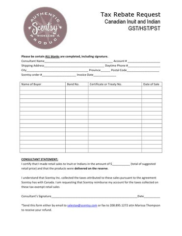picture regarding Printable Scentsy Order Form named Indigenous Tax Rebate Sort (Canada) through Natalie Zuidhof - issuu