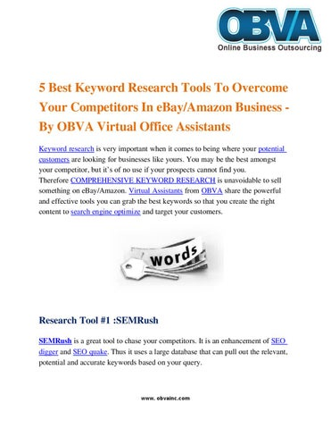 5 Best Keyword Research Tools To Overcome Your Competitors In Ebay Amazon Business By Obva Virtual Assistant Company Issuu
