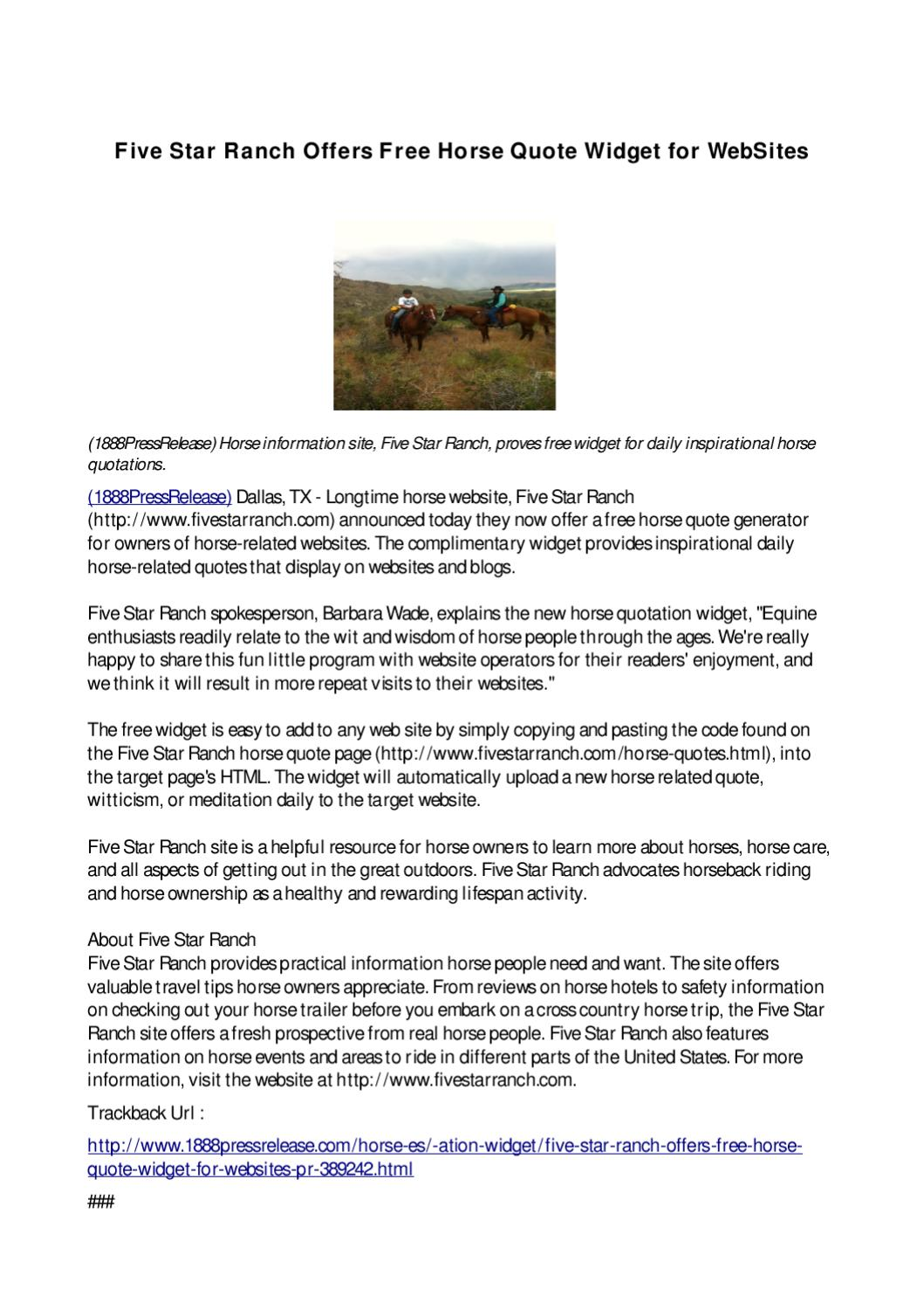 Five Star Ranch Offers Free Horse Quote Widget For Websites By 1888pressrelease Com Issuu