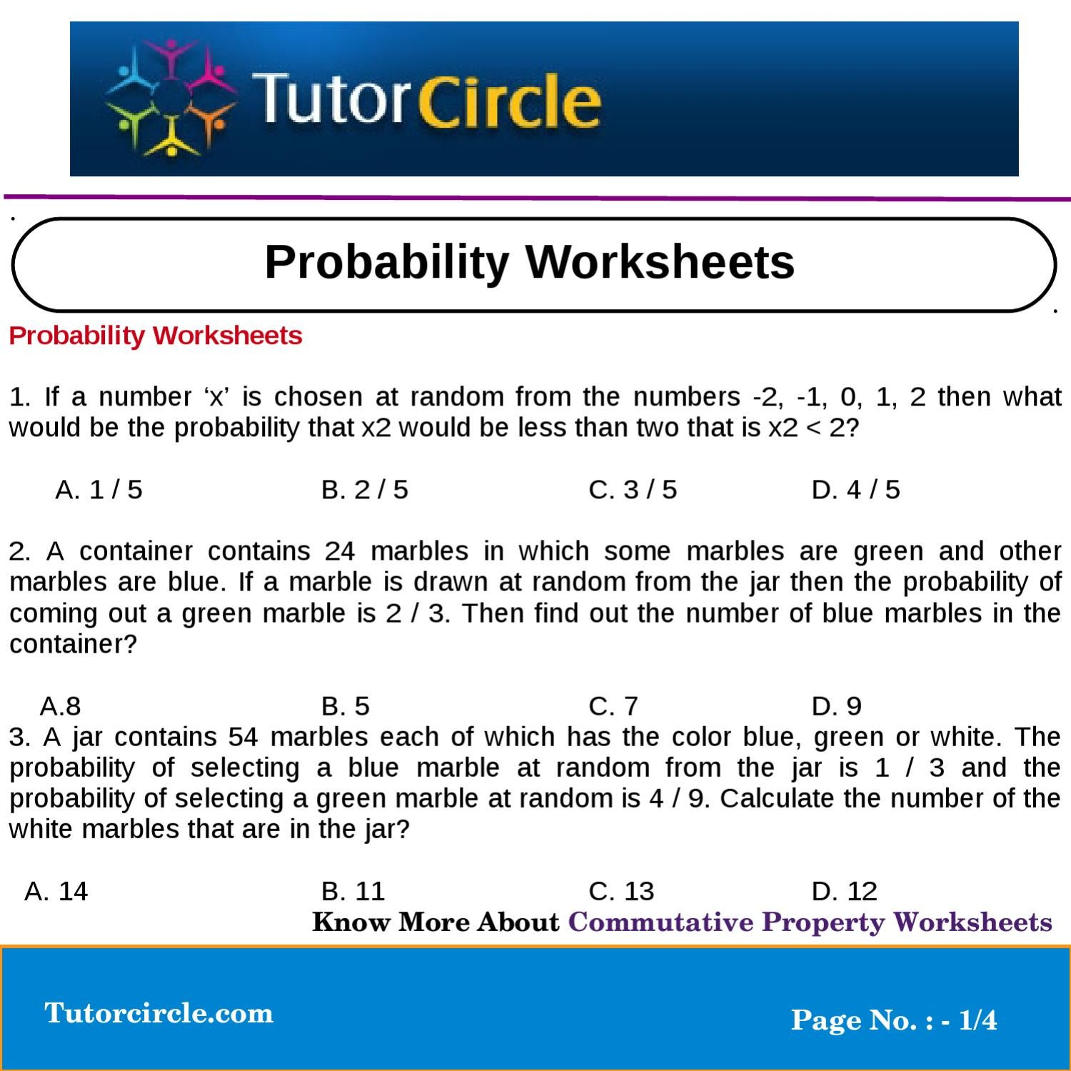probability worksheets by tutorcircle team issuu. Black Bedroom Furniture Sets. Home Design Ideas