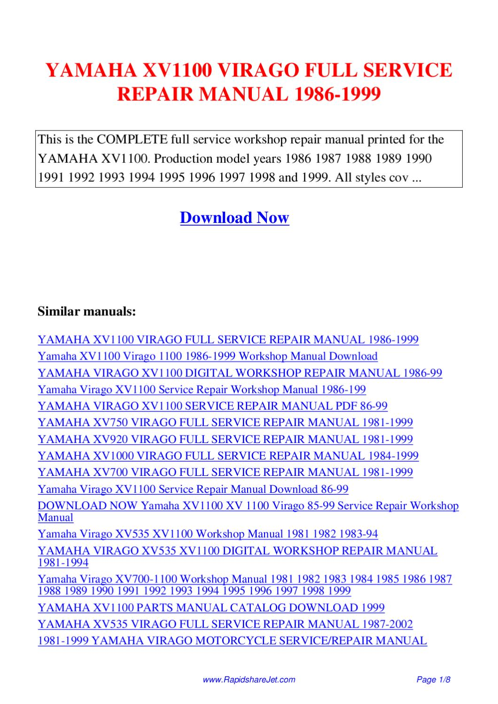 YAMAHA XV1100 VIRAGO FULL SERVICE REPAIR MANUAL 1986-1999 by Hong Lee -  issuu