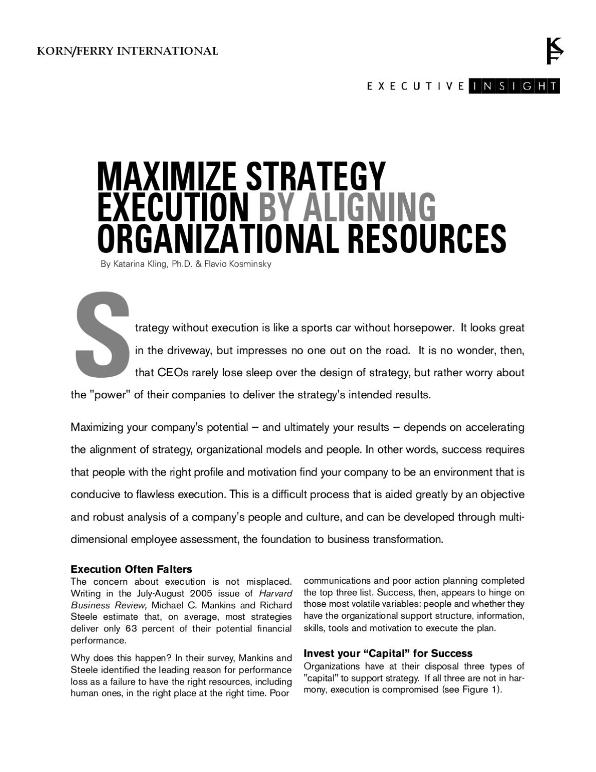 Maximize Strategy Execution by Aligning Organizational