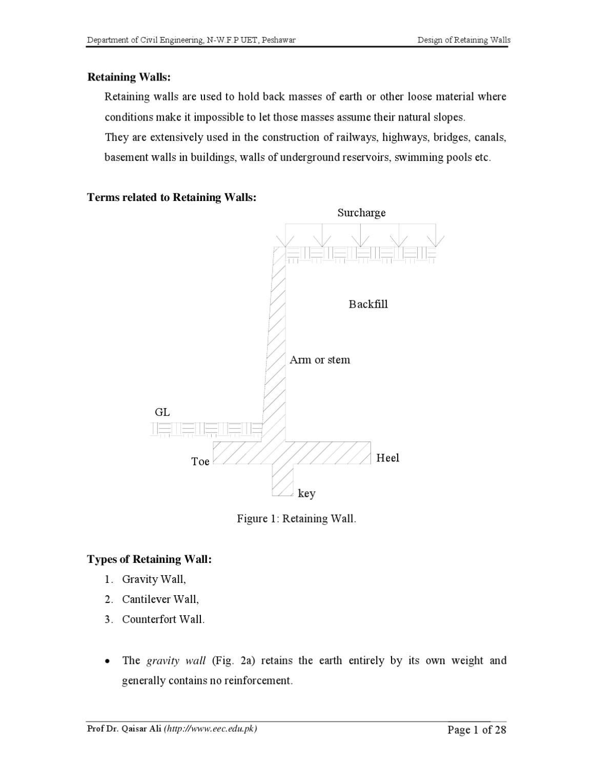Lecture 09 Design Of Retaining Wall By Muhammad Naeem   Issuu