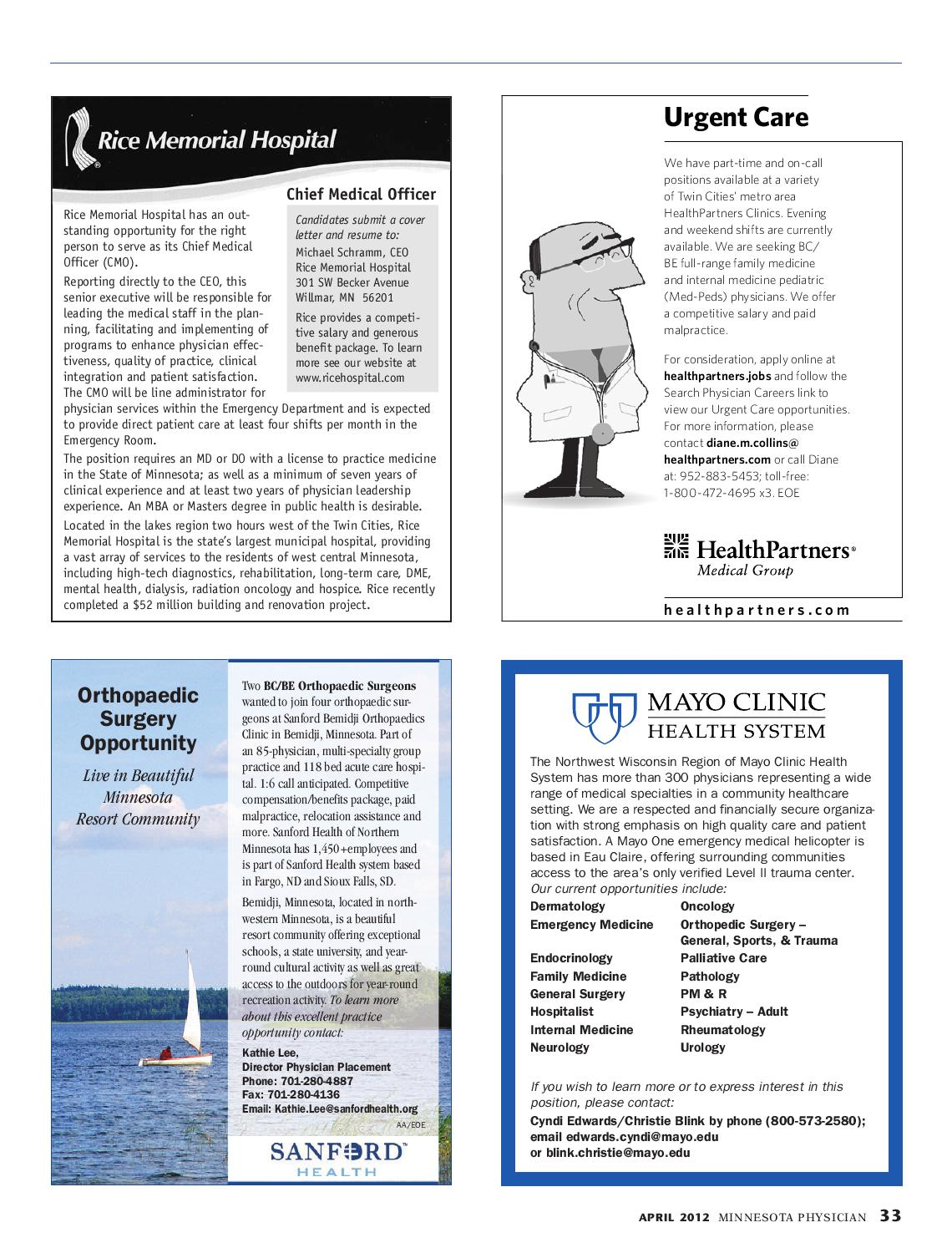 Minnesota Physician April 2012 by Minnesota Physician Publishing - issuu