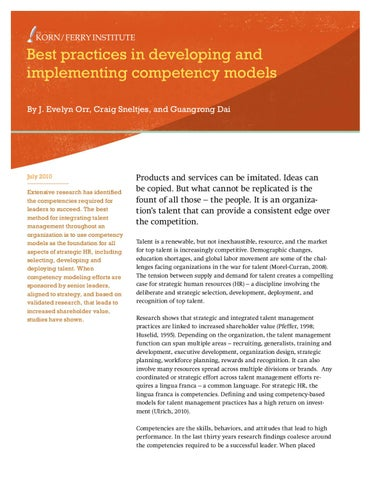 Best Practices In Developing And Implementing Competency