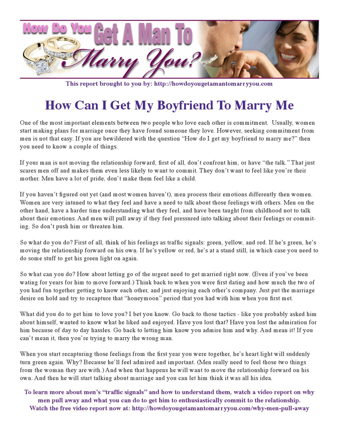 how to get a man to marry me