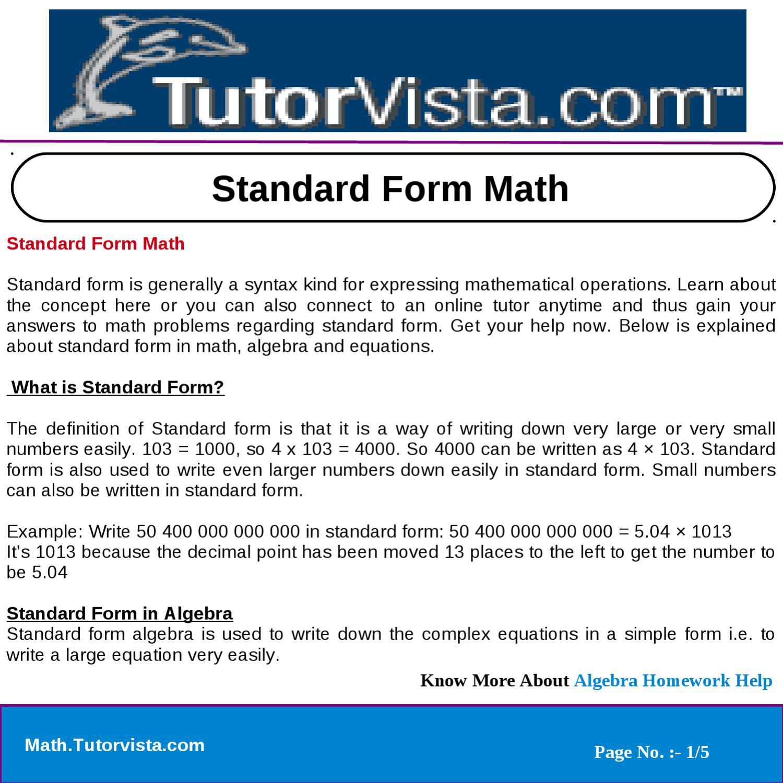 Standard Form Math Definition Nurufunicaasl