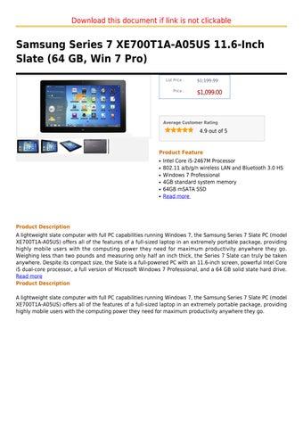 Samsung Series 7 XE700T1A-A05US 11 6-Inch Slate (64 GB, Win 7 Pro