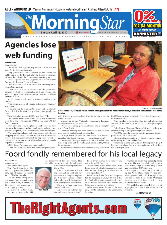 Vernon Morning Star, April 15, 2012 by Black Press Media Group - issuu