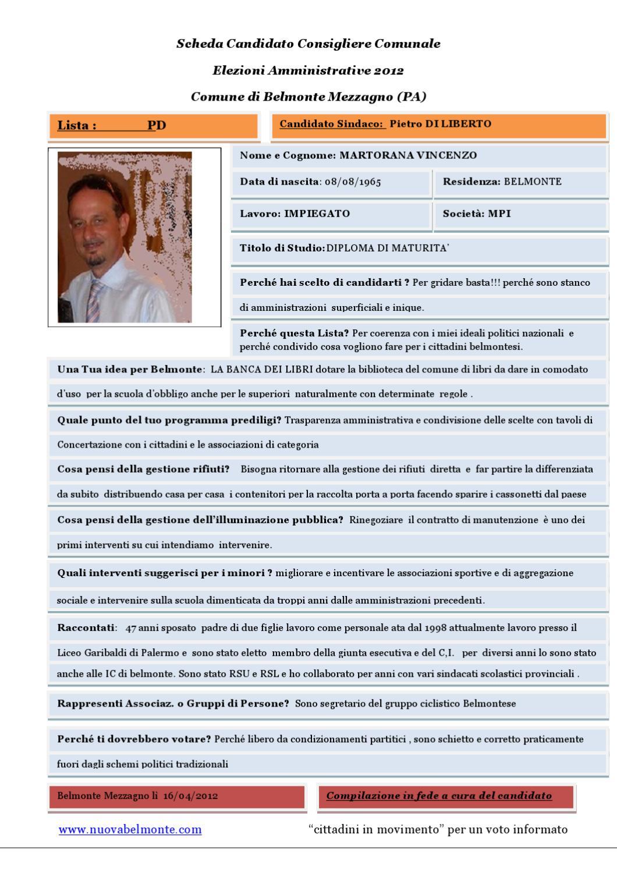 Scheda del candidato vincenzo martorana pd by nuova belmonte issuu - Cosa regalare per una casa nuova ...