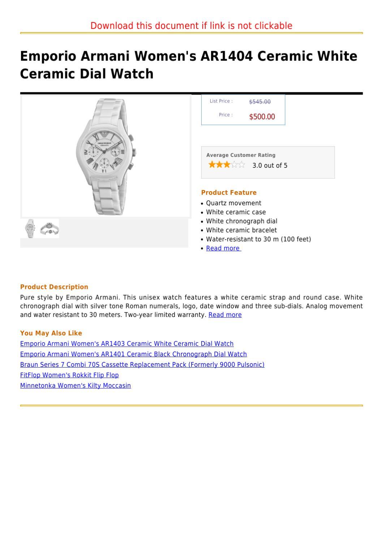 5f6603de Emporio Armani Women's AR1404 Ceramic White Ceramic Dial Watch by ...