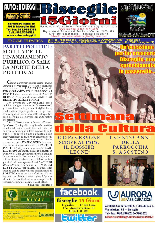 Di Pinto Bisceglie Materiale Edile bisceglie 15 giorni n. 315 del 15 aprile 2012 by salvatore
