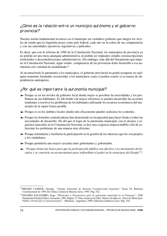Participación Pública Y Autonomía Municipal Provincia De