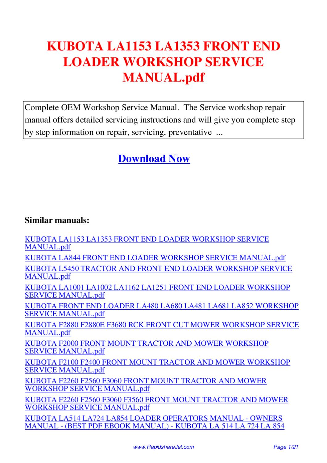 KUBOTA LA1153 LA1353 FRONT END LOADER WORKSHOP SERVICE MANUAL pdf by Hong  Lee - issuu