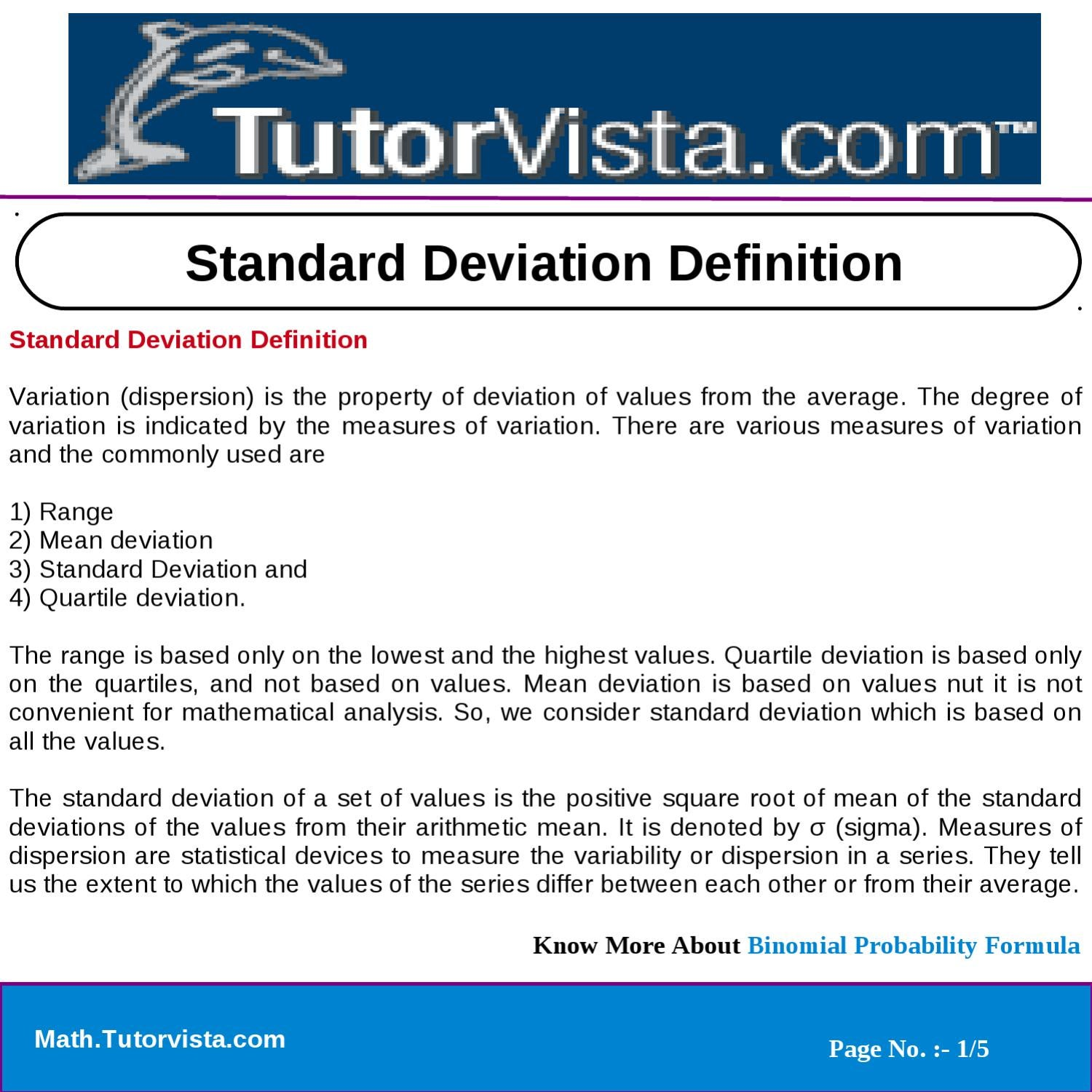 Standard Deviation Definition By Tutorvista Team Issuu