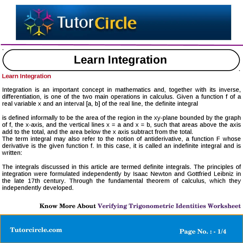 Learn Integration by tutorcircle team - issuu