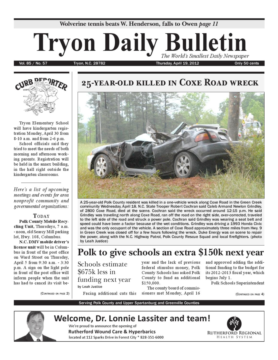4 19 12 Bulletin By Tryon Daily Issuu Small Snack Time Acs Tlt Series