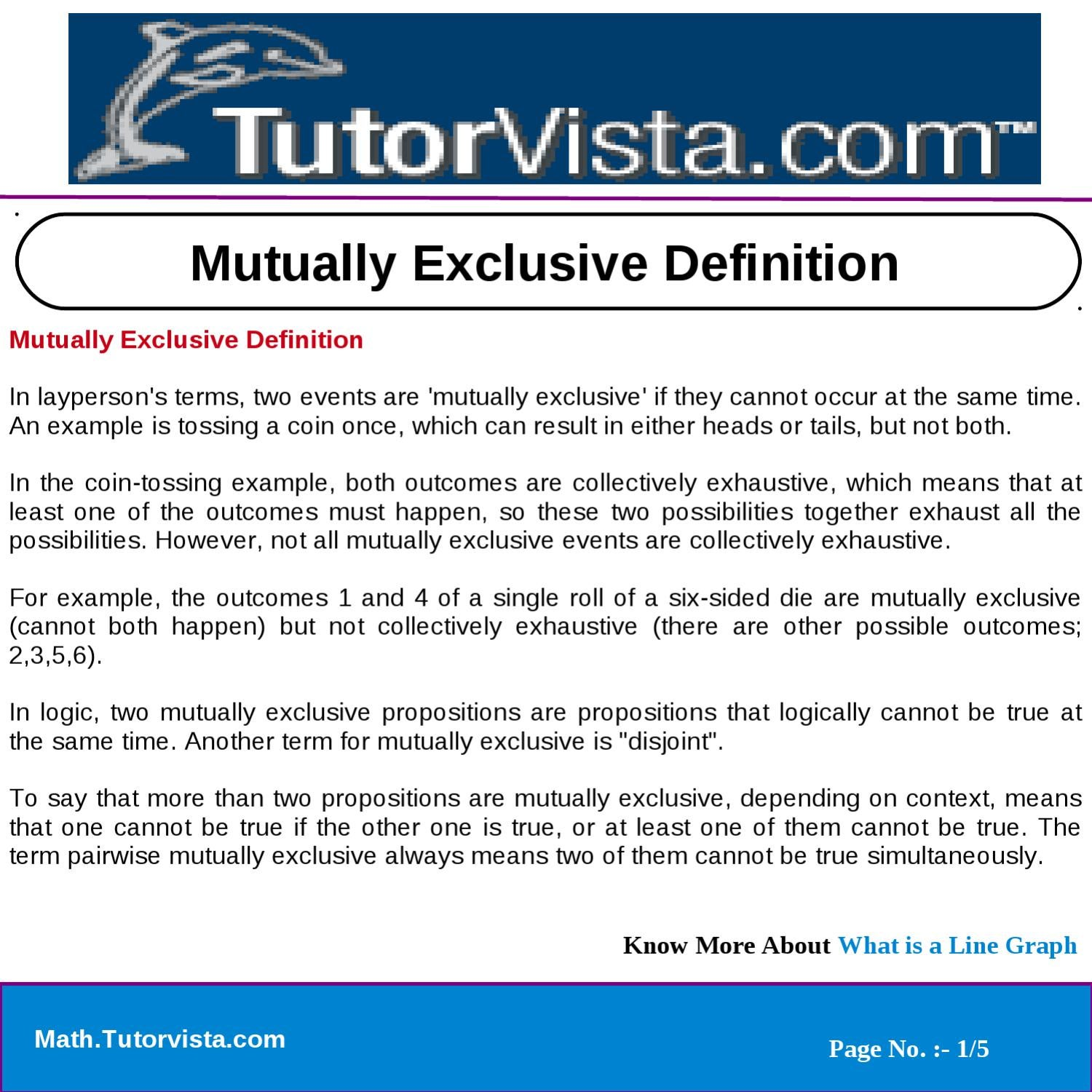 Mutually Exclusive Definition By Tutorvista Team Issuu