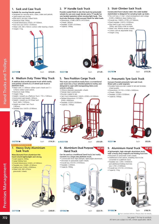 6-wheel Blue-red Sack Truck 150 kg Capacity Stair Climber Trolley Steel Frame