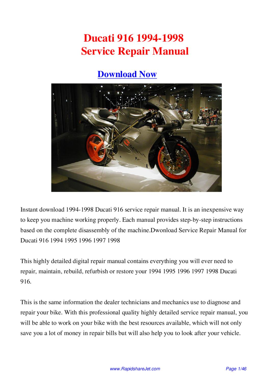 ducati 916 1994 1998 service repair manual by hong lee issuu