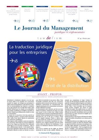 Journal Du Management Juridique Et Rglementaire By Legi Team
