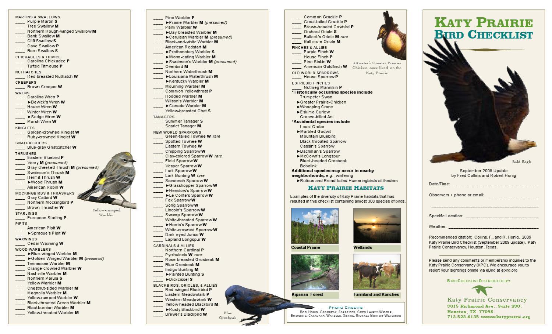 Katy Prairie Conservancy - Bird Checklist by Jaime Gonzalez