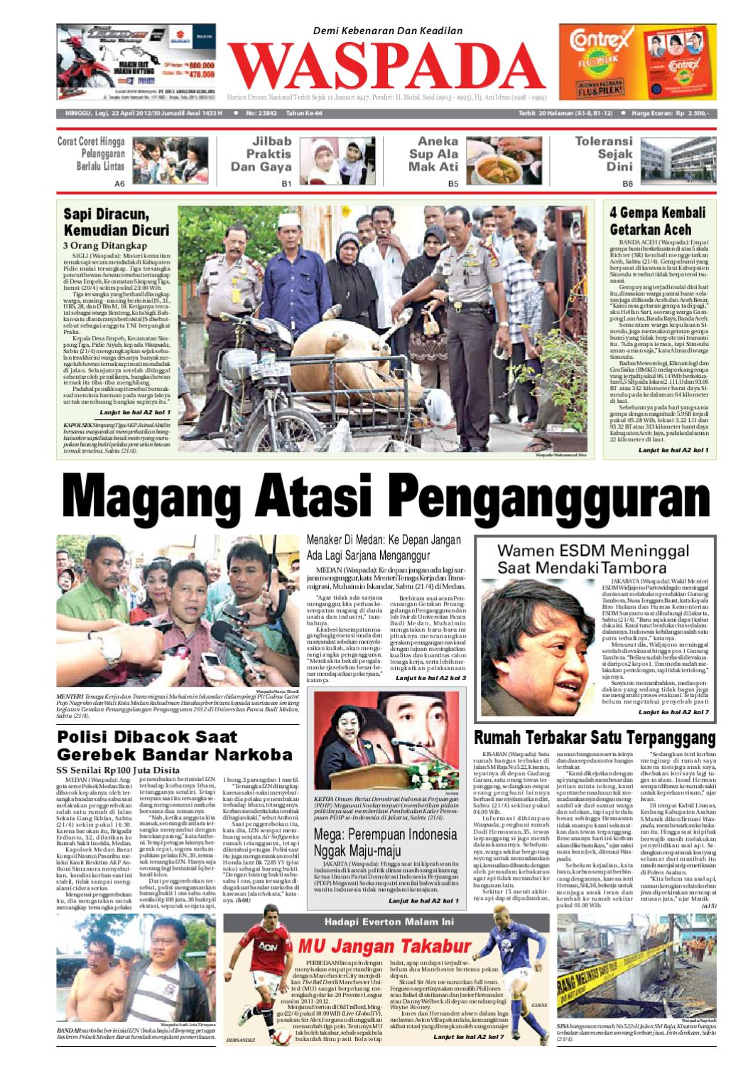 Waspada Minggu 22 April 2012 By Harian Waspada Issuu