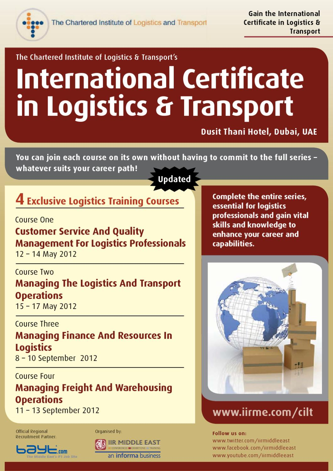 Cilt International Certificate In Logistics And Transport By