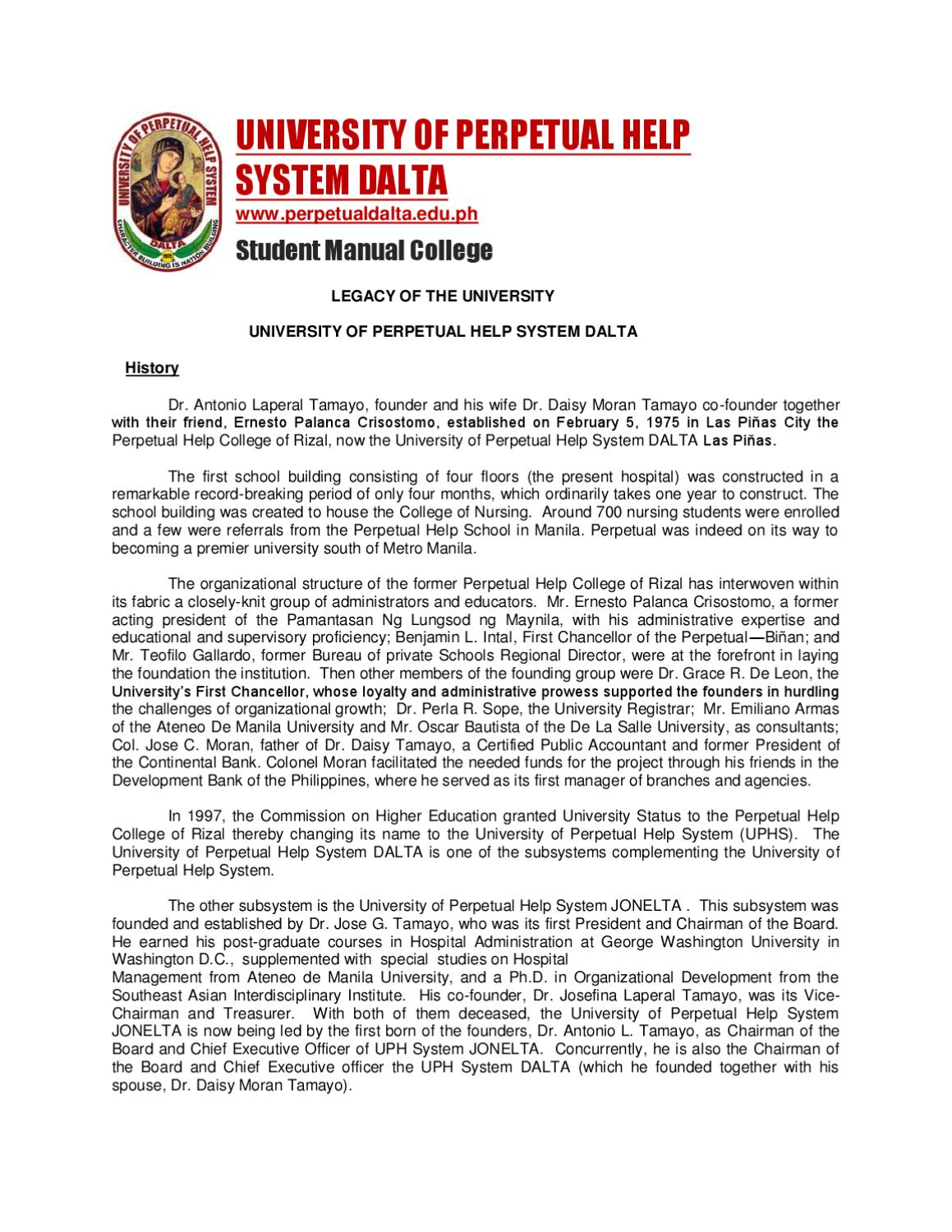 Student Manual for College Students by University of Perpetual Help System  DALTA (UPHSD) - issuu