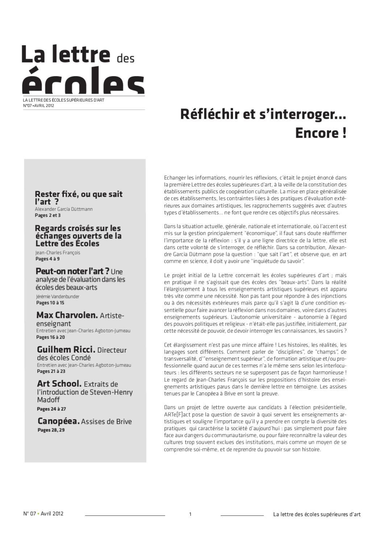 La Lettre Des écoles Supérieures D Art N 7 Avril 2012 By