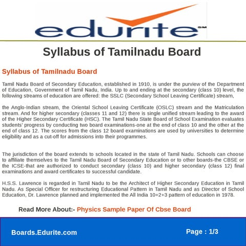 Syllabus of Tamilnadu Board by gaurav saini - issuu