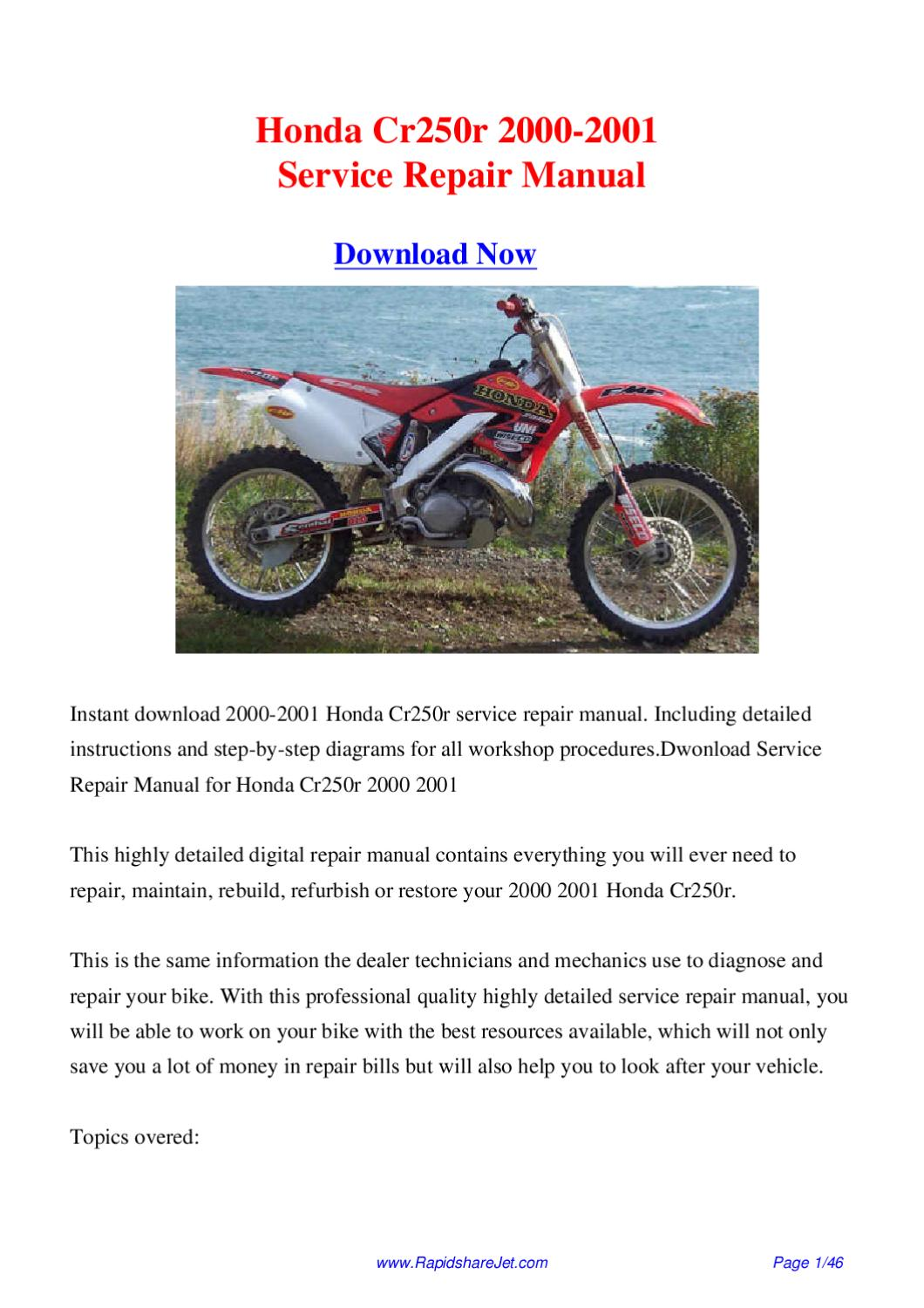 2001 honda cr250 service manual