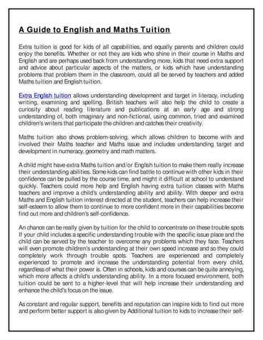 A Guide to English and Maths Tuition by Henry John - issuu