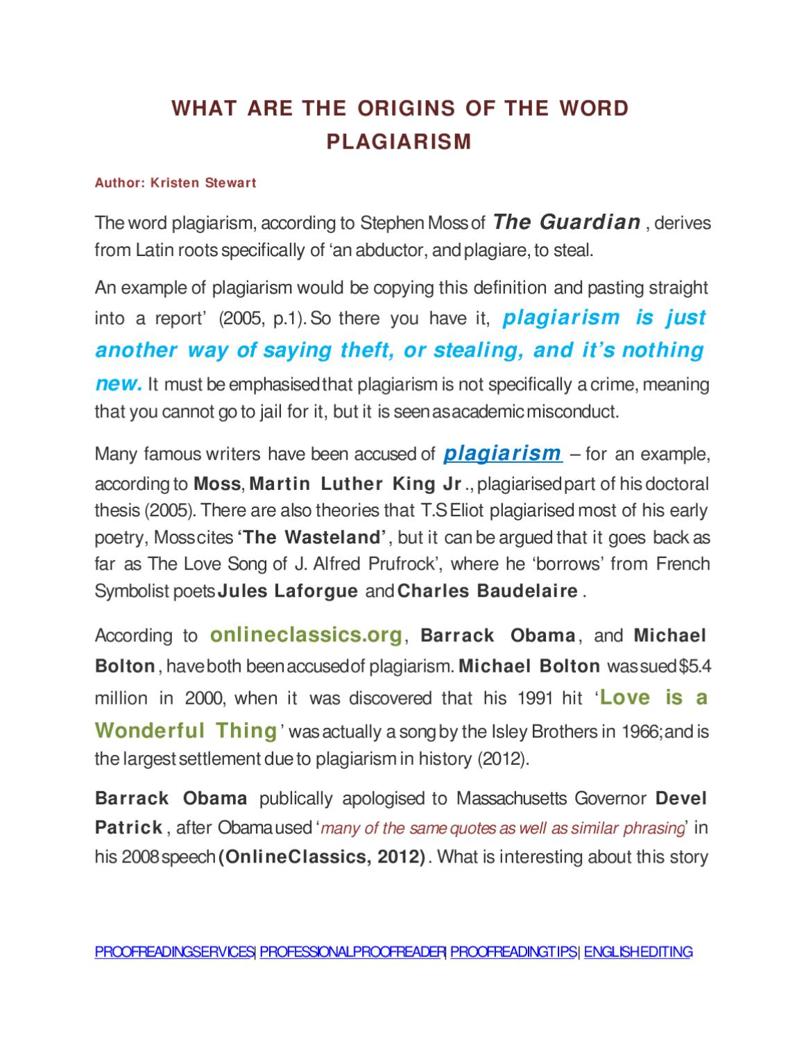 What Are The Origins Of The Word Plagiarism By Proofreadmyessay Ltd