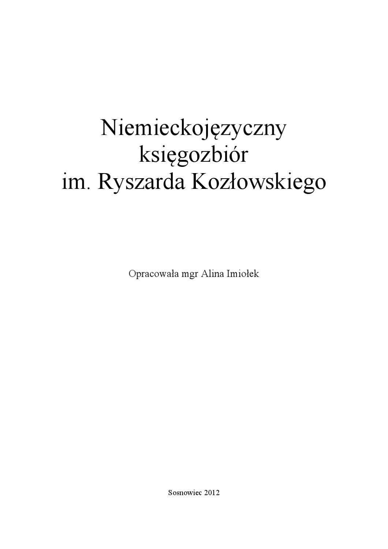 Niemieckojęzyczny księgozbiór im. Ryszarda Kozłowskiego by Ilona ...