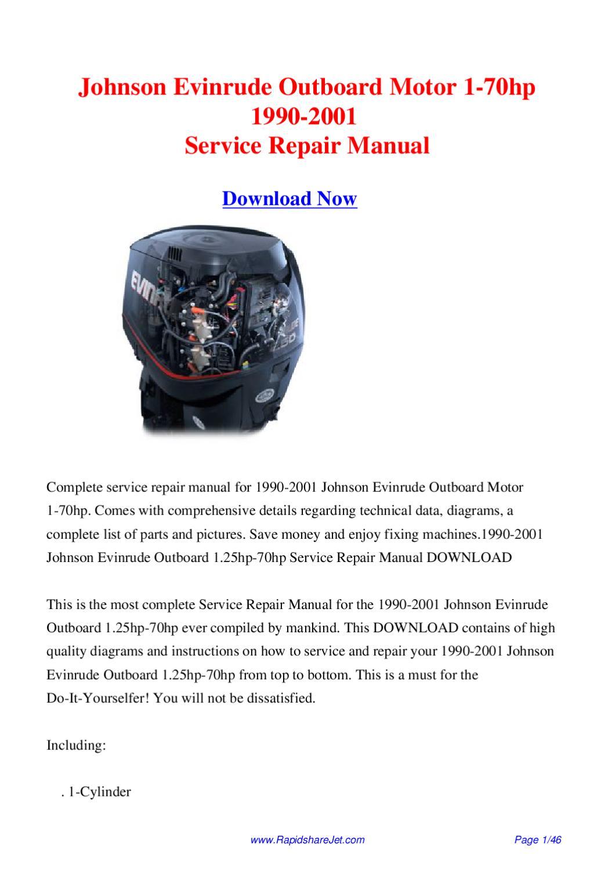 Johnson Evinrude Outboard Motor 1-70hp 1990-2001 Service Repair