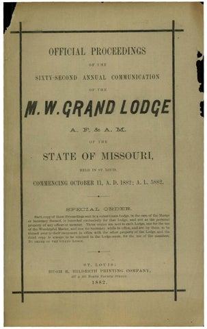 1882 Proceedings - Grand Lodge of Missouri by Missouri Freemasons