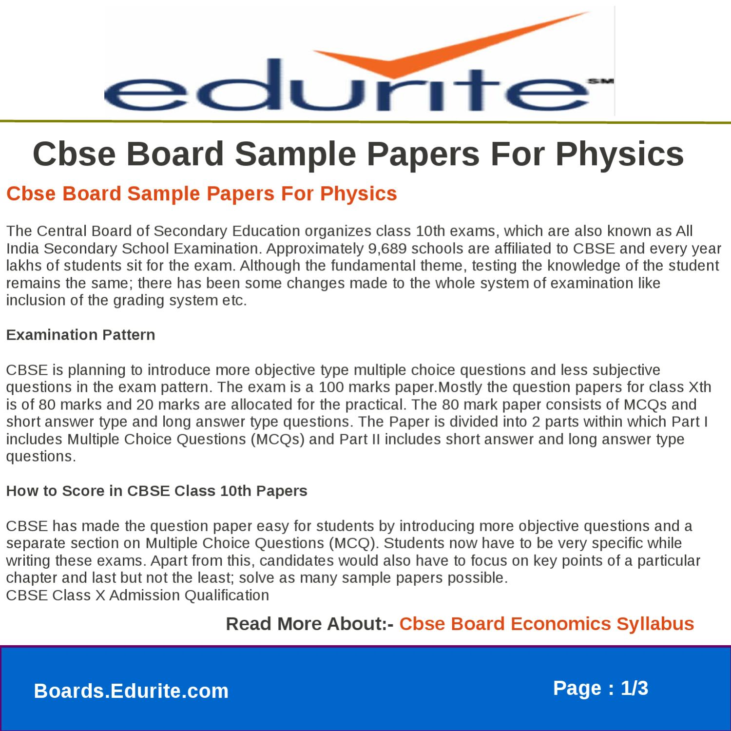 Cbse Board Sample Papers For Physics by gaurav saini - issuu