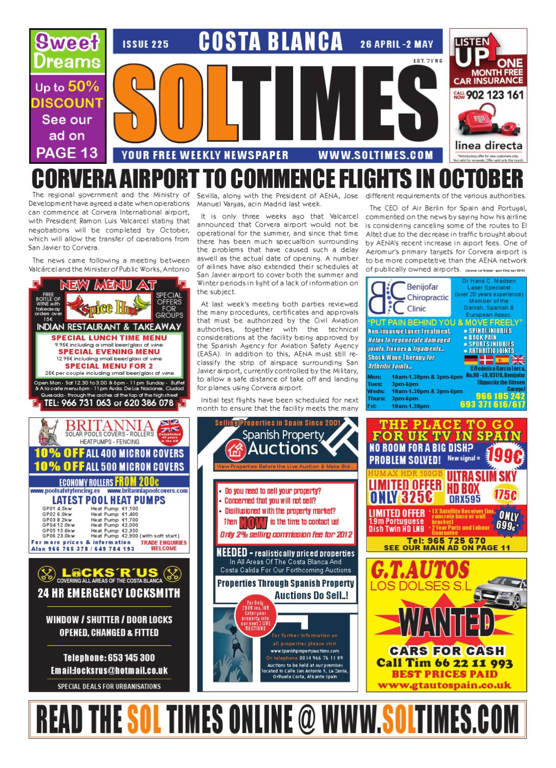 Sol Times Newspaper Issue 225 Costa Blanca Edition By Nigel Judson  # Muebles Dous Murcia